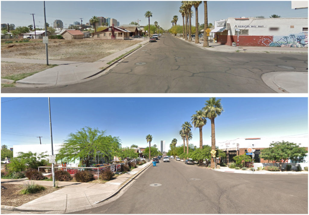 Example of an outcome from the ReInvent Phoenix Plan, Before and After, Northwest and Southwest Corners of 10th St and Pierce St, Phoenix, Arizona Google StreetView – 2014 and 2020
